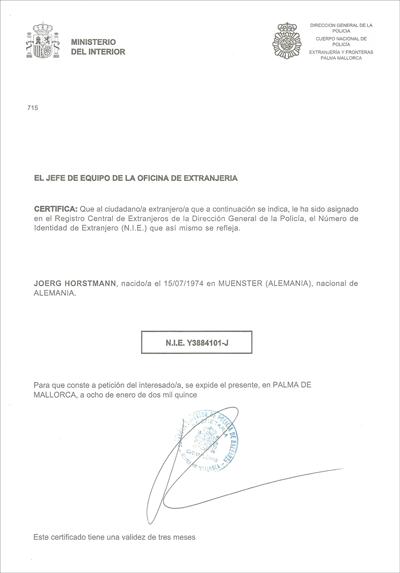 NIE - Nummer original Dokument